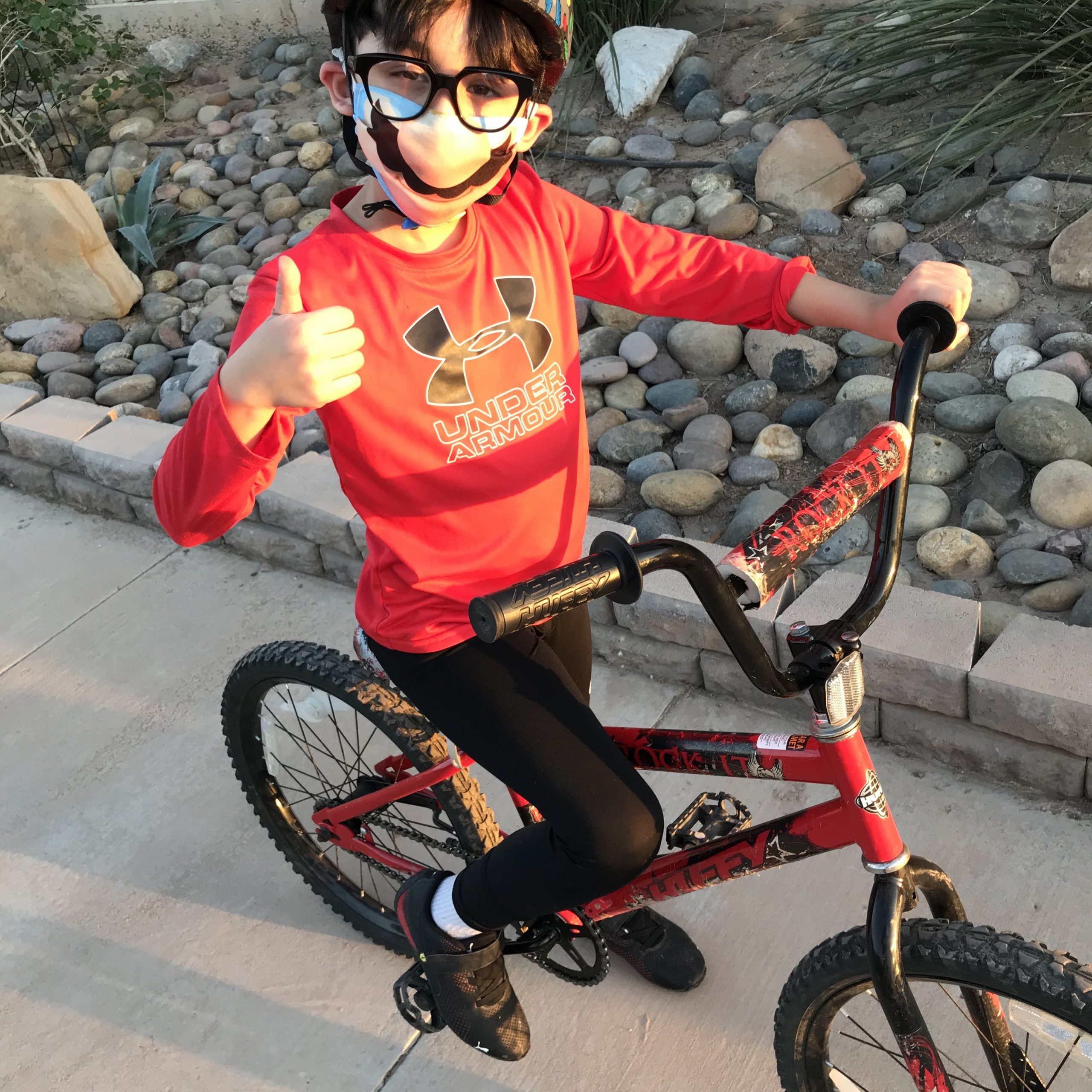 riding bike with cool helmet