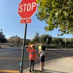 my children were walking to school in california with safety precautions